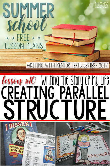 Lesson #10 of my Free Writing with Mentor Texts Summer Series. Creating parallel structure in your writing.