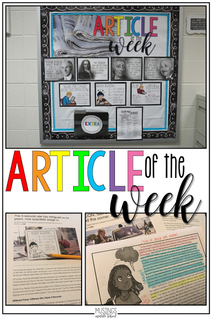 Blog post about using an Article of the Week routine in your middle school classroo.