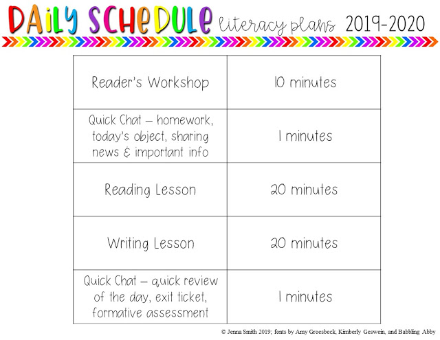 Middle School ELA Daily Schedule